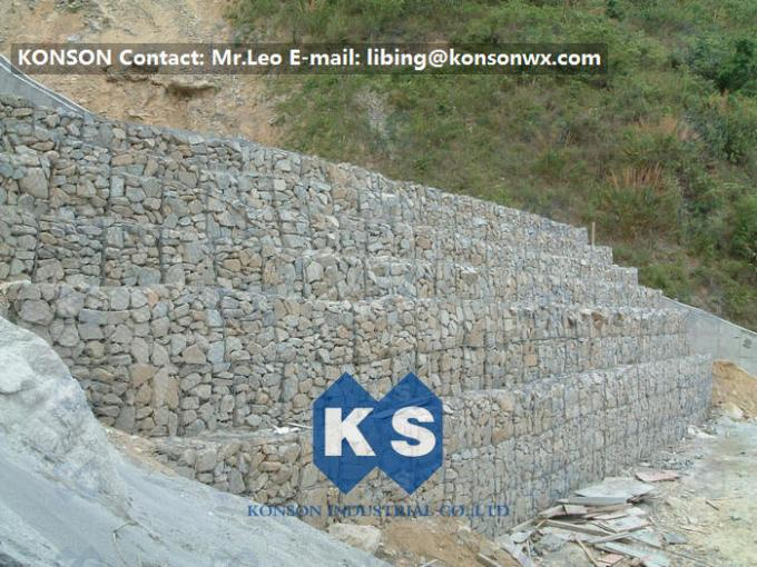Stainless Steel Galvanized Hexagonal Wire Mesh Gabion Boxes , 0.5mm Thick PVC Coated